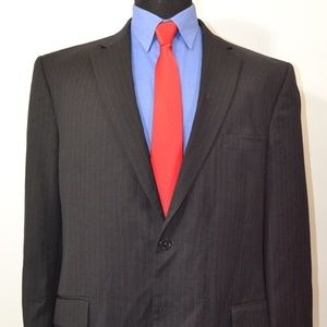 Jos A Bank 44L Sport Coat Blazer Suit Jacket Black